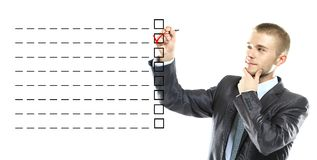 Business man designed on a checklist box Royalty Free Stock Images