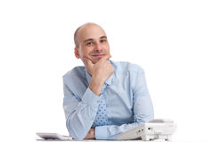 Business man on a desk Royalty Free Stock Photography