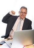 Business man with desk Stock Image