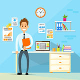Business Man Desk Office Working Place Flat Vector Stock Photo