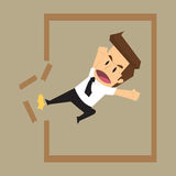Business man destroy frame, from the traditional framework. To f. Ind new opportunities. vector Stock Photos