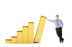 Business man and diagram of success Royalty Free Stock Image