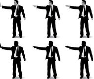 Business man with different hand positions Stock Photo