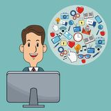 Business man digital marketing computer strategy. Vector illustration eps 10 Stock Photos