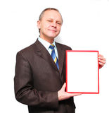 Business Man displaying a banner. Business Man holding a banner add isolated over a white background Stock Images