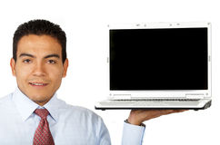Business man displaying a laptop Royalty Free Stock Image