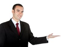 Business man displaying something Stock Image