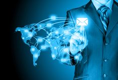 Business man distribute digital mail Royalty Free Stock Photo