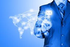 Business man distribute digital mail Stock Image