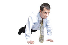 Business man do push up Stock Photos