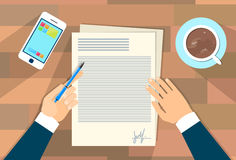Business Man Document Signing Up Contract Agreement Stock Photography