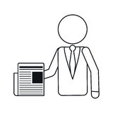 Business man document work office outline Royalty Free Stock Photo