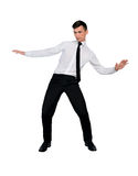 Business man dodge position Royalty Free Stock Photos