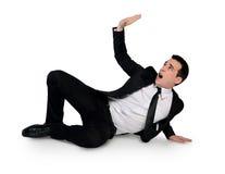 Business man dodge something Royalty Free Stock Image