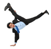 Business man doing handstand Stock Photography