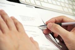Business Man Doing Paperwork Close. Close up of business man doing paper work Stock Photos