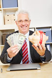 Business man with dollar bills Royalty Free Stock Photos
