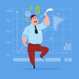 Business Man With Dollar Sign Over Finance Chart Graph Background Money Success Concept. Flat Vector Illustration Stock Photography
