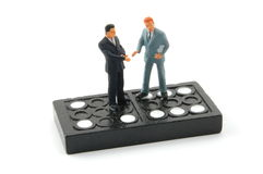 Business man on domino isolated Royalty Free Stock Image
