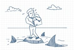 Business Man Doodle Standing On Rock With Sharks Around Danger And Crisis Concept. Vector Illustration Royalty Free Stock Photos