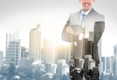 Business man double exposure concept in the city Royalty Free Stock Images