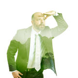 Business man double exposure green tree Royalty Free Stock Image