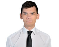 Business man doubt face. Isolated business man doubt face Royalty Free Stock Photo