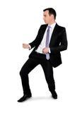 Business man drag something. Isolated business man drag something Stock Photo