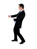 Business man drag something. Isolated business man drag something Stock Images