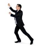 Business man drag something. Isolated business man drag something Royalty Free Stock Photo