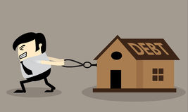 Business man dragging house with a rope Stock Image