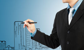 Business man draw building and cityscape Royalty Free Stock Image