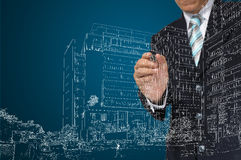 Business Man draw building and cityscape Stock Image