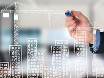 Business man draw building and cityscape Royalty Free Stock Images