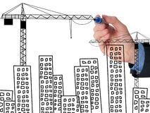 Business man draw building and cityscape Royalty Free Stock Photos