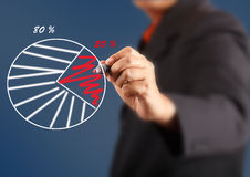Business man draw pie chart graph Stock Photography