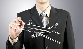 Business man draw plane  transportation Stock Photo
