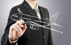 Business man draw plane  transportation Stock Photos