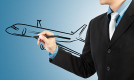 Business man draw  plane  transportation Stock Images