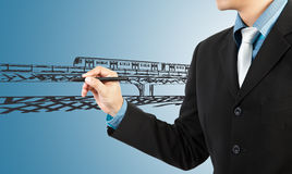 Business man draw train transportation Stock Images