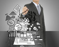 Business man drawing concept of Paper Business for idea Stock Photography