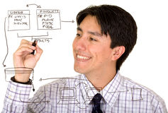 Business man drawing a database plan on the screen Royalty Free Stock Images