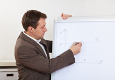 Business man drawing diagramm on Royalty Free Stock Photography