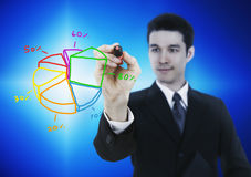 Business man drawing graph. Business man drawing market share graph Royalty Free Stock Images