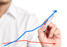 Business man drawing  graph. Business man drawing a graph Stock Image