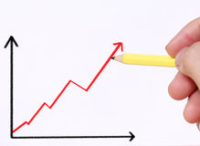 Business man drawing  graph. Business man drawing a graph Stock Photography