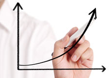 Business man drawing  graph. Business man drawing a graph Stock Images