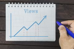 Business man drawing graph of Views number for smm managers, internet bloggers and administrators of channels, groups. Business man drawing graph of Views stock photography