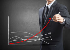 Business man drawing growth chart Stock Image