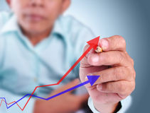 Business man drawing growth graph of success. With red color and blue color Royalty Free Stock Image